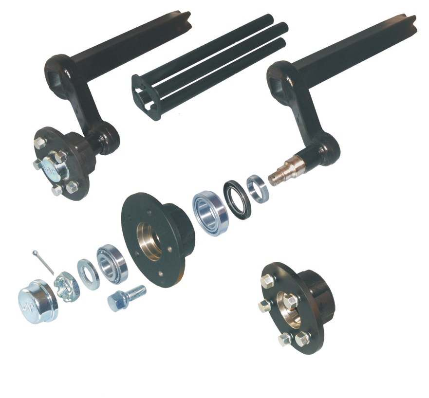 Rubber spring axles without brakes (axle load) 1,2 14,15 1 12 11 4 5 6 7 8 9 10 Designation / Remark complete swing arm, left complete swing arm, right swing arm, left