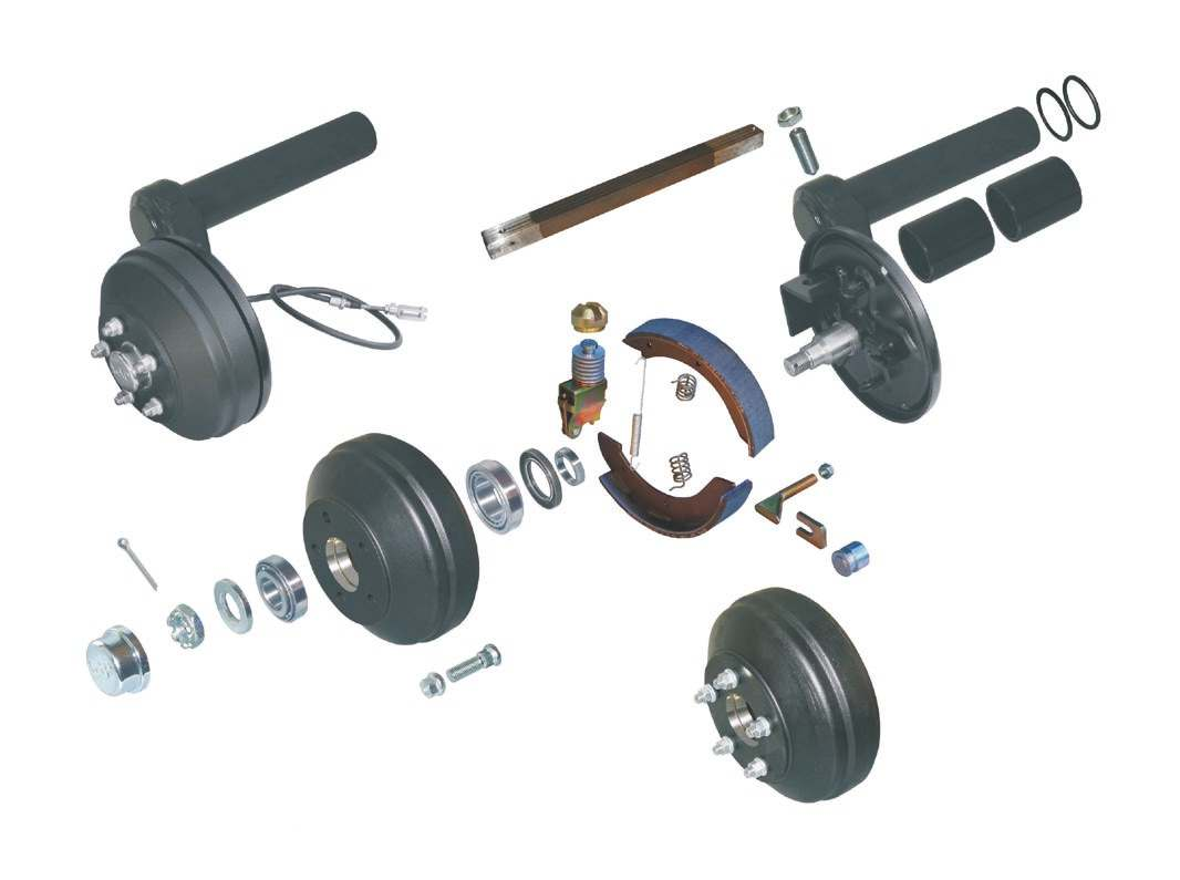 Torsion-rod spring axles with brakes (axle load) 1,2 4 2 1 0 29 28 26 27 25 24 2 4 22 21 20 18,19 5 6 7 8 9 10 11 Designation / Remark complete swing arm, left complete swing arm, right swing arm,