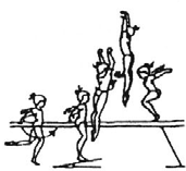 1.101 (D) Leap on landing must show arabesque position (leg min. at horizontal) Freies Aufspringen - Absprung von einem Bein bei der Landung muss eine Arabesqueposition gezeigt werden (Bein min.