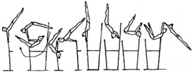 307 Outer front support clear hip circle bwd on LB with hecht to hang on HB, also with ½ turn (180 ) (legs together or