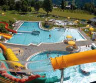 Swimming and recreational fun await you at our lake resort with a giant water slide, climbing on the Ice Berg, water trampoline, swim islands, lake café, restaurant, beach-volleyball court, sports