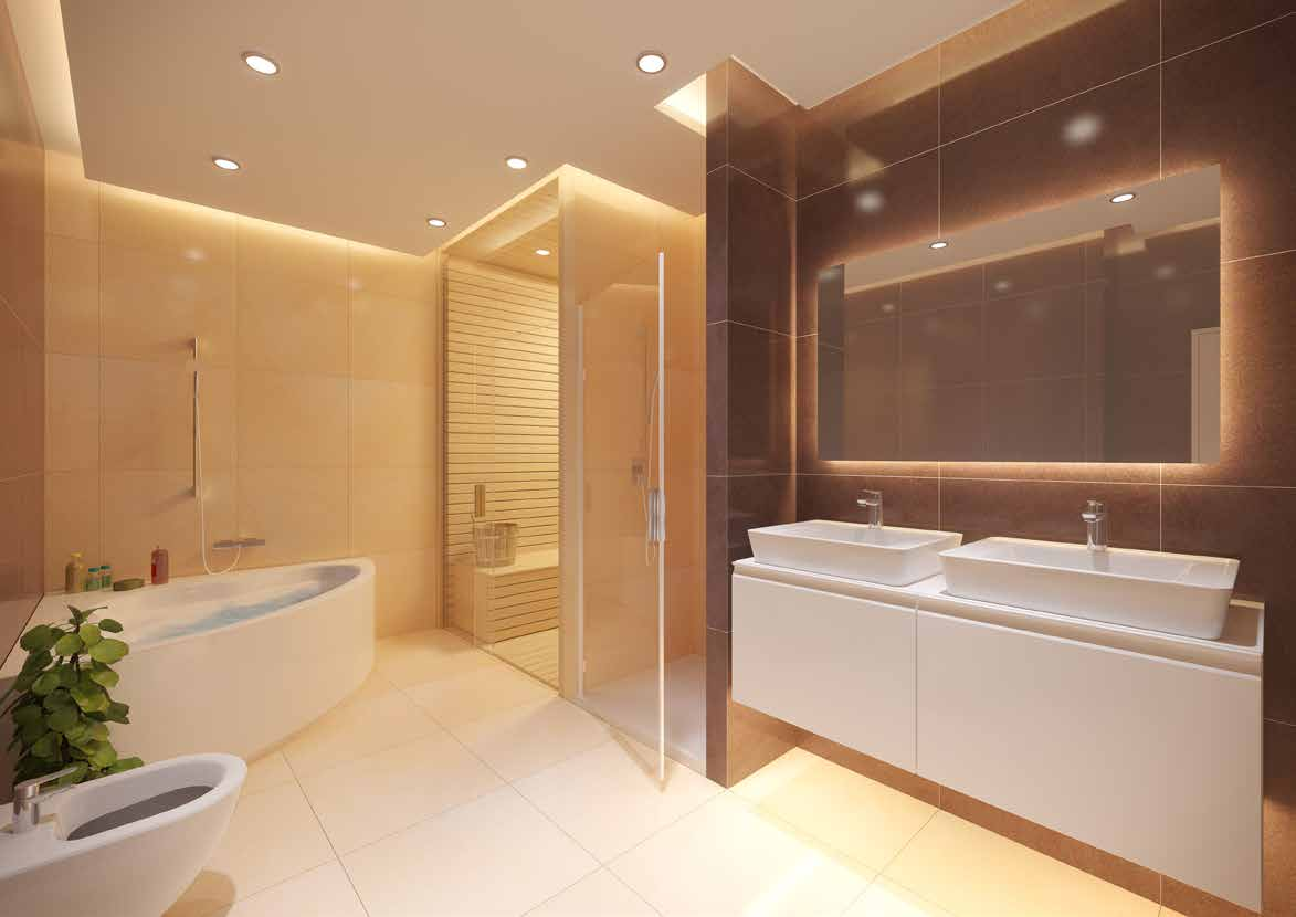 Almost every master bedroom has its own private adjacent bathroom, typically with two sinks, whirlpool bath, WC and bidet.