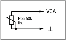 "Description Analogue control Figure 11: Phoenix terminal A linear 50 kohm potentiometer at the VCA input, labelled ""VCA"" and "" "", allows you to vary the master volume."