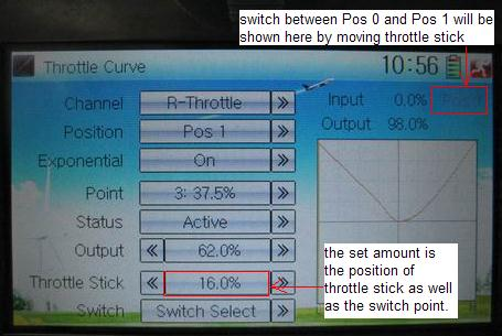 English Switch between Pos 0 and Pos 1 will be shown here by moving throttle stick. The set amount is the position of throttle stick as well as the switch point.
