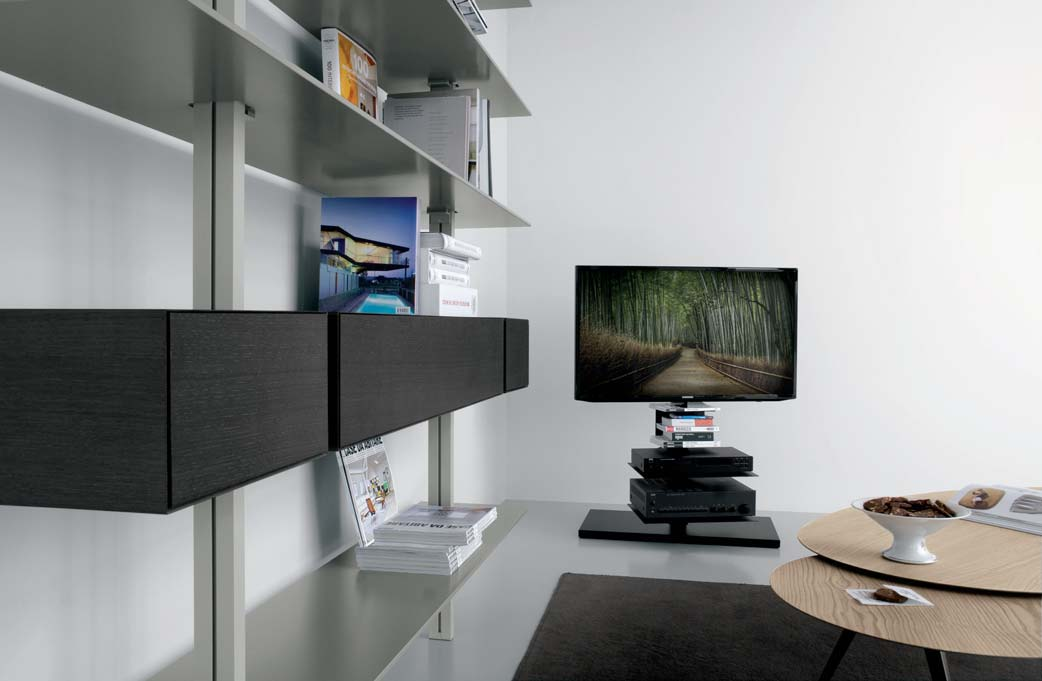 Rotating TV stand column, height 100 cm, base 80 x cm + shelving for DVDs/books in black