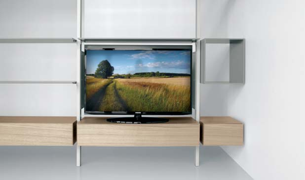 Tilting door TV stand includes cable tidy, available in dimensions 108 cm and 144 cm.