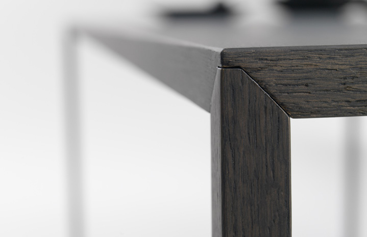table Slim material steel veneered