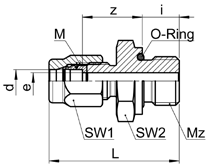 Gerade Einschraubverschraubung METR mit Conovor O-Ringabdichtung (NBR) Union mâle METR avec joint torique Conovor (NBR) Male adaptor union METR with Conovor O-ring seal (NBR) SO 41124 OR METR Type -d
