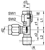 L-Einschraubverschraubung L mâle Male adaptor L union SO 43721 L Type -R -d2 -d3 Mat.-Nr.