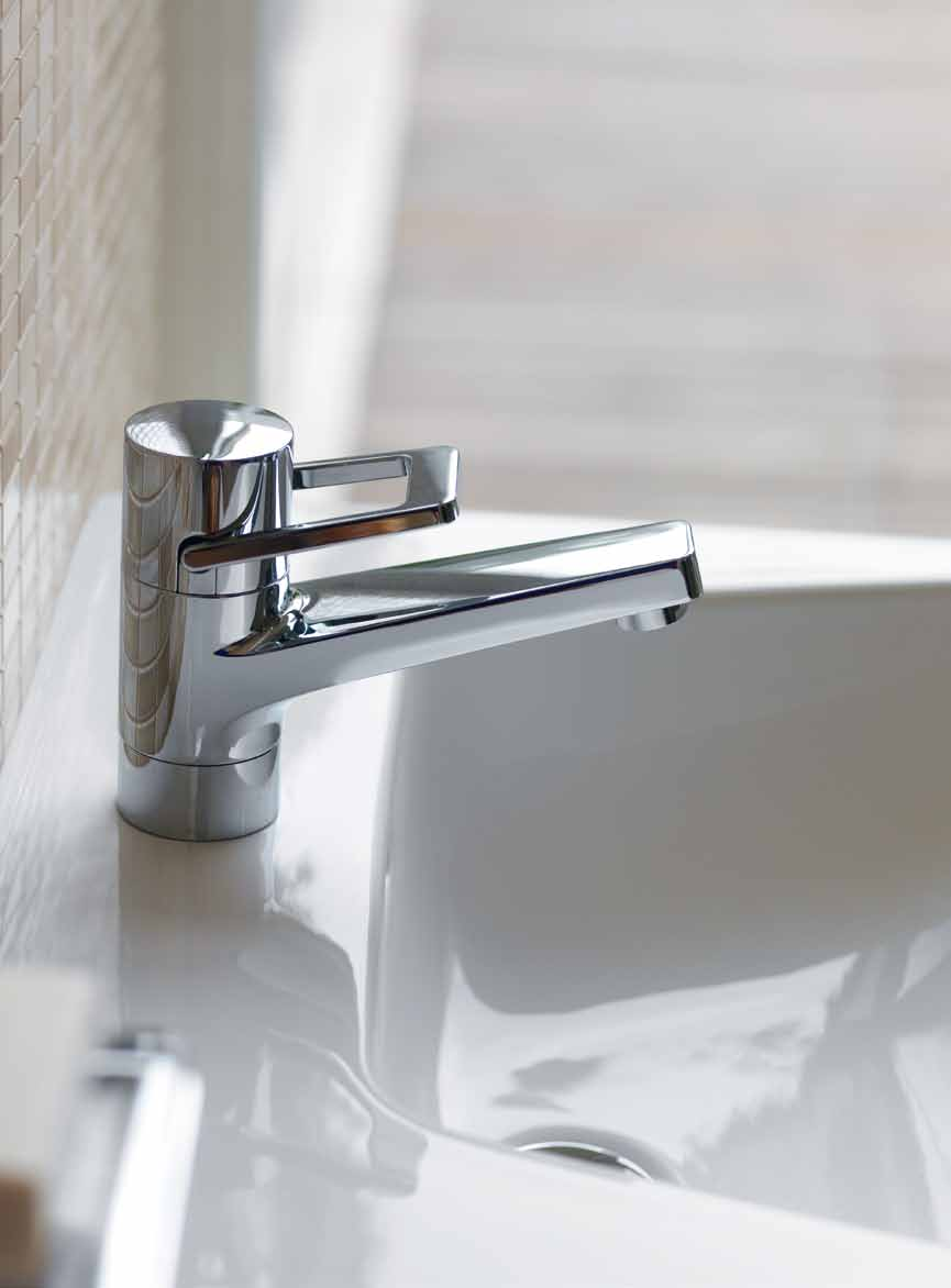 Gleaming perfection The geometry of the trapezium also provides the basis for the functional aesthetics of the faucets.