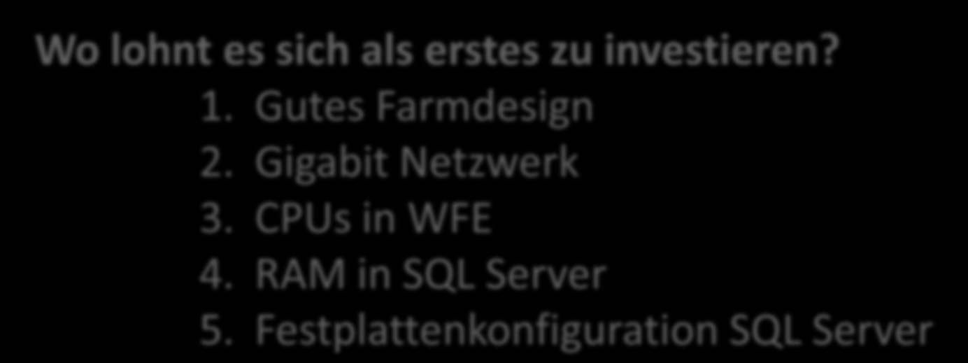 Performance-Optimierung Zusammenfassung CPU RAM HDD Netzwerk Application Firewall + - - + Web Frontend Server ++ - - ++ Application Server + + - - Datenbank Server +