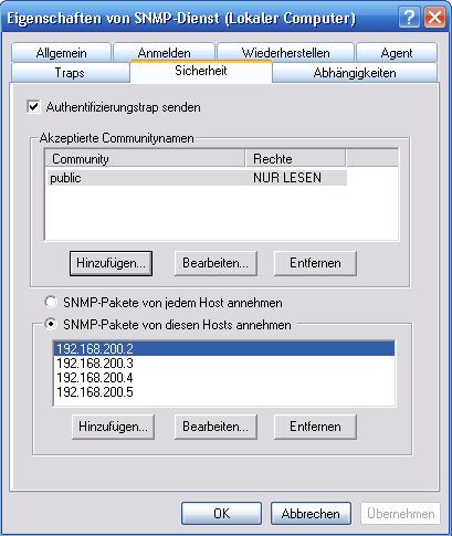 Matthias Jauernig, Michael Lahl 5 Überwachung von Windows-Rechnern Abbildung 19: Konfiguration des SNMP-Dienstes auf dem Windows-Client [HKEY_LOCAL_MACHINE\SYSTEM\CurrentControlSet\Services\SNMP\