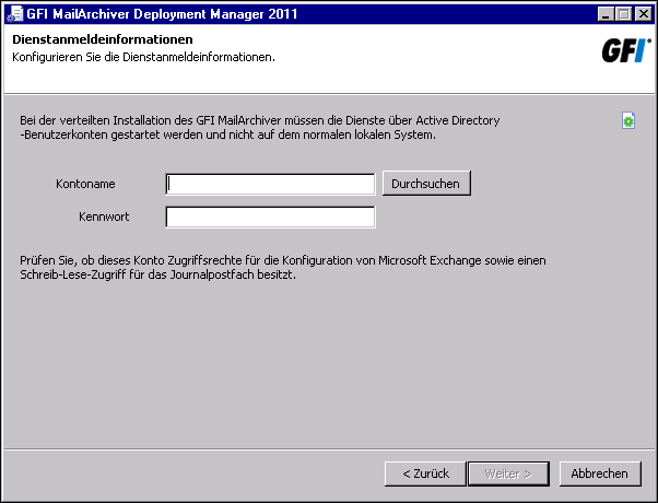 Screenshot 49: Angeben der Active Directory-Anmeldeinformationen 4.