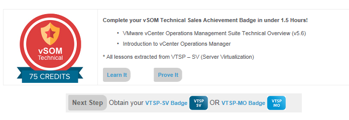 Steps to take: vsphere with Operations Management (vsom) Badges 1 Obtain