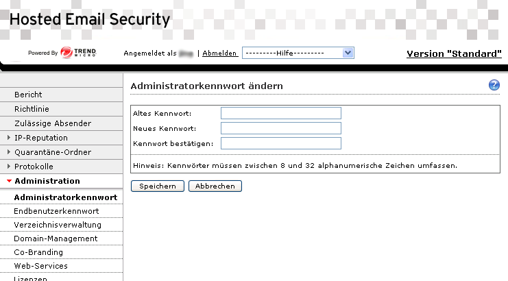 "Trend Micro Hosted Email Security Administratorhandbuch ABBILDUNG 5-5. Fenster ""Administratorkennwort ändern"" Administratorkennwort ändern Das Administratorkennwort ändern: 1."