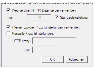 Element Webservice (HTTP) Datenserver verwenden Port Standardeinstellung Internet Explorer Proxy Einstellungen verwenden Manuelle Proxy Einstellungen HTTP Proxy Port Beschreibung Aktivieren um das