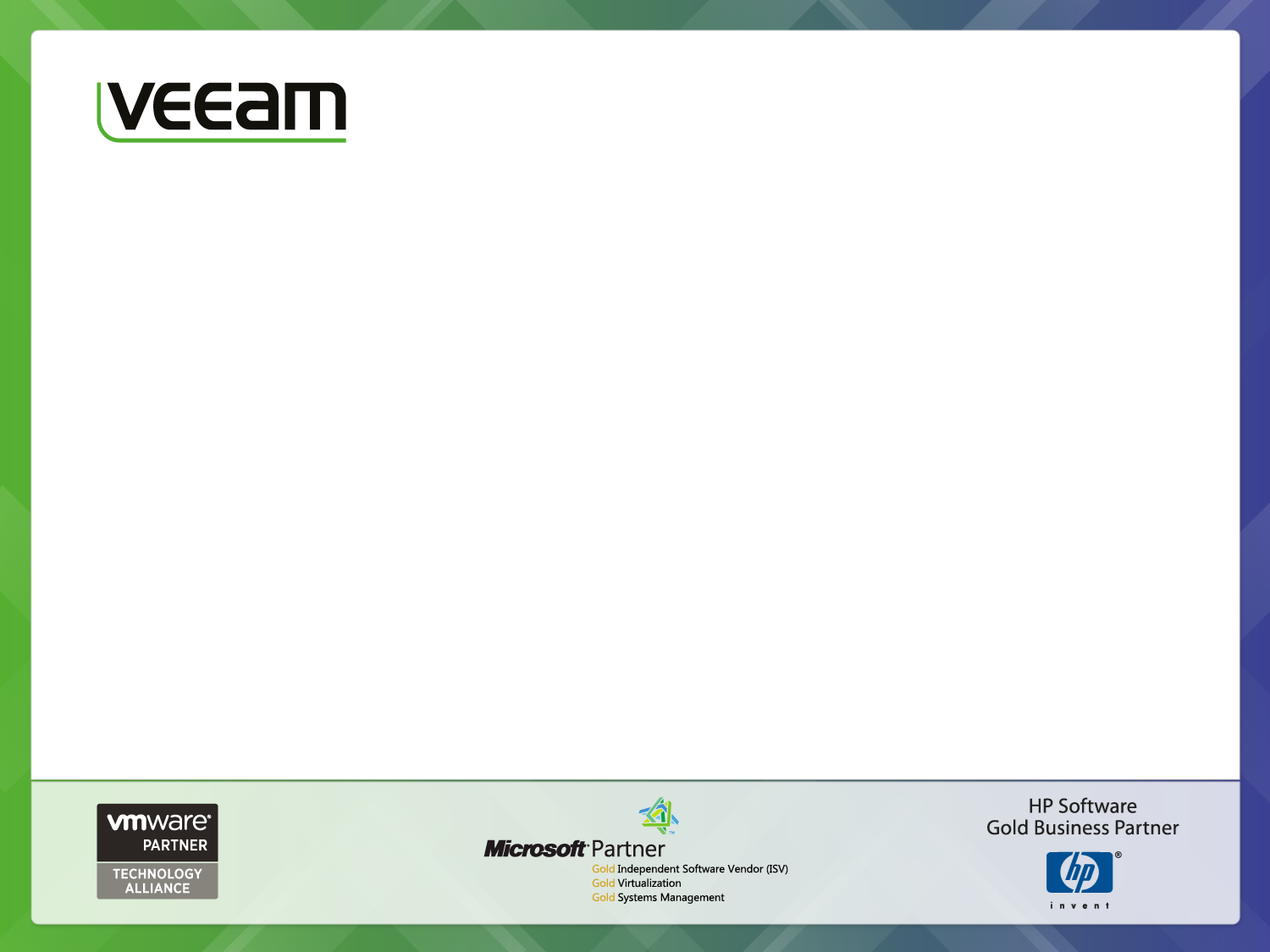 Veeam Software Realize the promise of virtualization Sandro