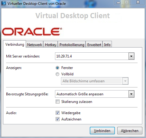 Oracle VDI Configuration tings (see Experience tab of the remote desktop connection) to meet your personal requirements. http://wikis.sun.