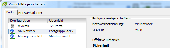 VMware View Installation 5.4.3 Tagging the VLAN To make sure that the virtual machine can be accessed over the network, the VLAN has to be tagged with the correct VLAN-ID.