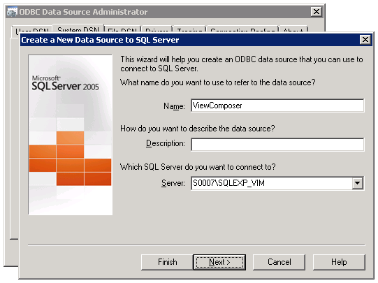 VMware View Installation 4. A wizard will show up, which will help to create an ODBC data.