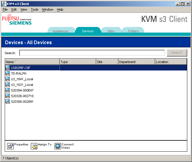 Accessing a target device KVM s3 Client Explorer 3.4.1 Accessing a target device Click the Devices tab in the Explorer.