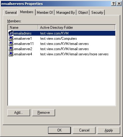 Appliance Management Panel Setting up Active Directory for performing queries Figure 25: Active Directory - Define groups 5.3.