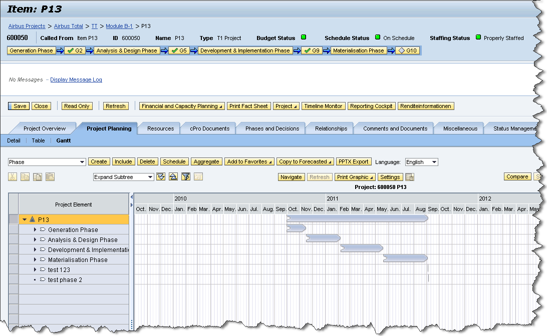 Call Project Planning Functionality The project Gantt is a very convenient function to visualize timelines of various project phases.
