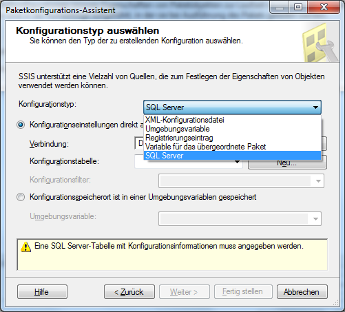 Deployment & Konfig Konfiguration bisher (vor SSIS 2012) Konfiguration über Package Configuration XML Umgebungsvariablen Registry Parent Package SQL