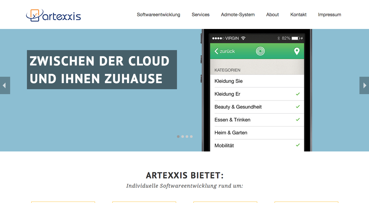digimedia Artexxis: Web/App Design Erstellung einer (One-Pager) Website