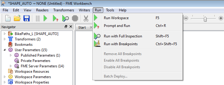 Workspace Ausführungs-Modi Run Workspace Prompt and Run Run