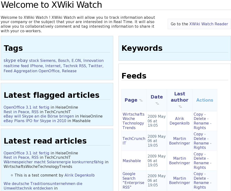 30 Figure 2: XWiki Watch overview page The first page of XWiki Watch presents an overview of the current states and recent activities.