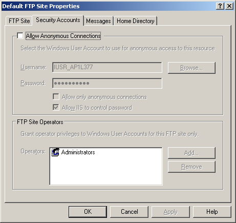 This default FTP site accepts requests from anybody (mentioned as anonymous) without any authentication. This is not good for security and the FTP server should be dedicated for the DX2000.