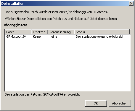 Manuelle Deinstallation von Patches 3.