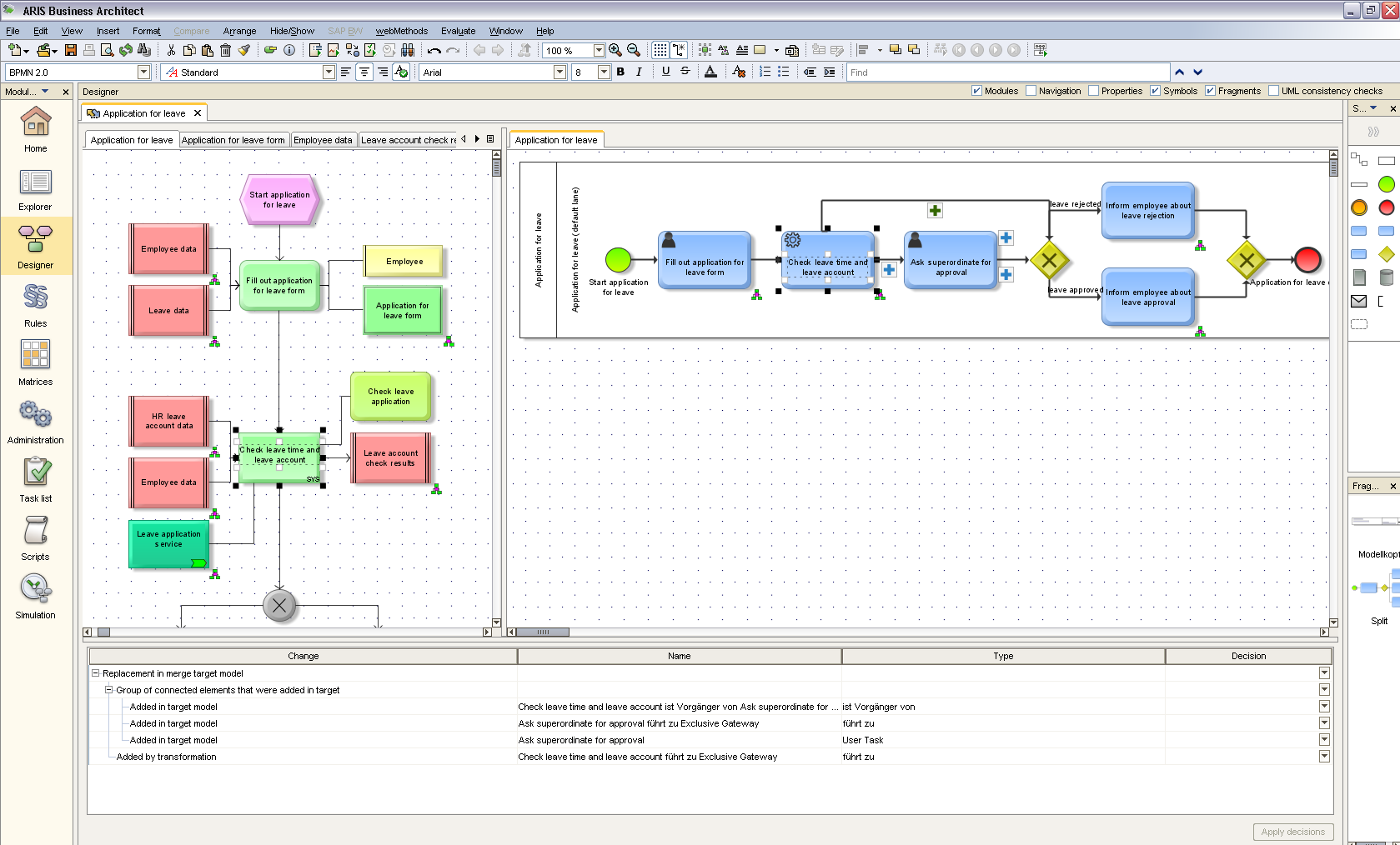 Model 2 Execute (2): Toolsynchronisation Vergleich der EPK und BPMN Modelle EPC model Application for Leave BPMN model generated from the EPC Merge view shows the BPMN object that maps to a