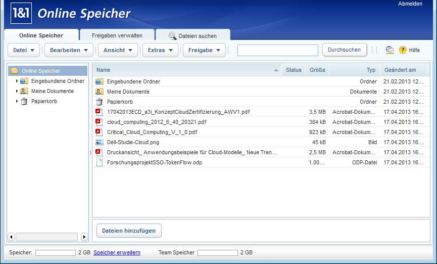 Login Online Storage In der