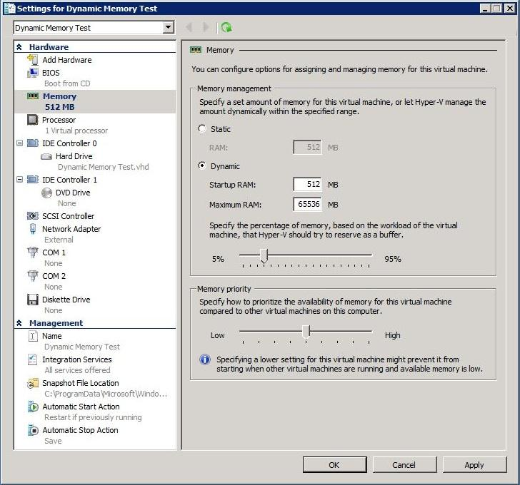 Windows Server 2008 SP1 Dynamic Memory RemoteFX Dynamic Memory allows the allocation of a range of memory (min and max) to individual VMs, enabling the system