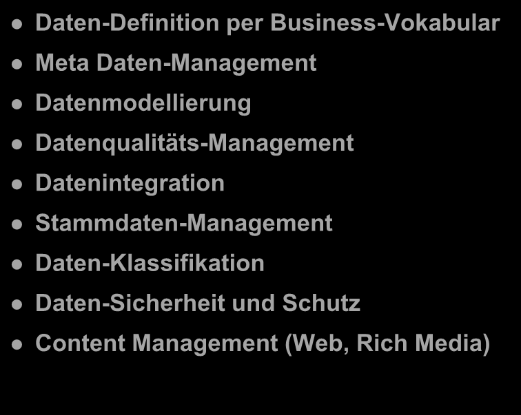 Spektrum von Information Management Daten-Definition per Business-Vokabular Meta Daten-Management Datenmodellierung Datenqualitäts-Management