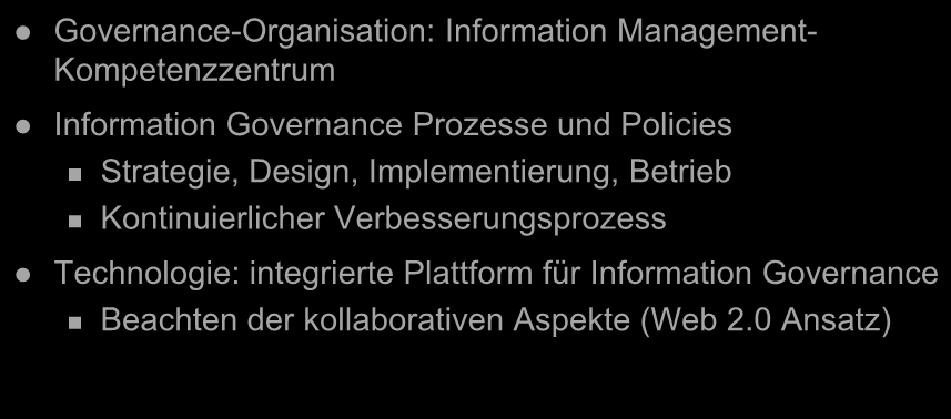 Information Governance Governance-Organisation: Information Management- Kompetenzzentrum Information Governance Prozesse und Policies Strategie, Design, Implementierung, Betrieb Kontinuierlicher