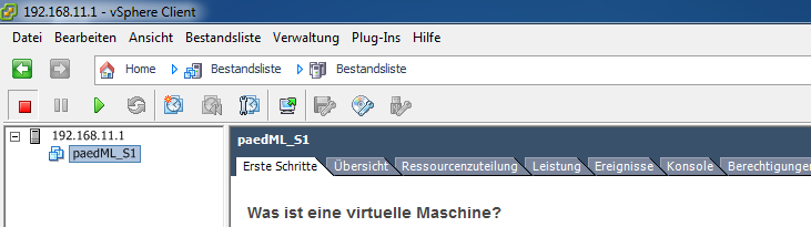 Einspielen des virtuellen paedml Windows Servers S1 in der Version SK 2.8 in den Hypervisor VMware ESXi Es wird der Fortschritt der Bereitstellung angezeigt. Dieser Vorgang kann eine Zeit dauern.