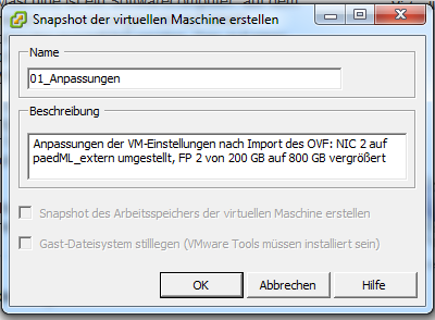 Einspielen des virtuellen paedml Windows Servers S1 in der Version SK 2.