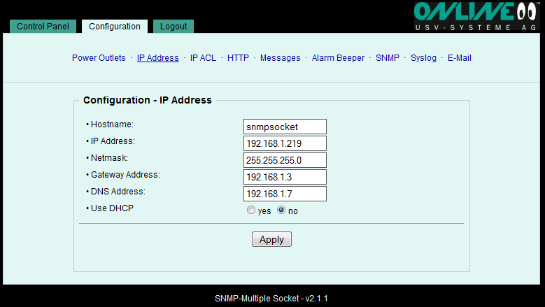 6.2.2 Configuration IP Address Hostname A name with a maximum of 15 characters can be assigned here. The SNMP Multiple Socket logs into the DHCP server under this name.