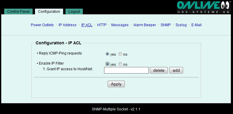 6.2.3 Configuration IP ACL (IP Access Control List) The IP Access Control List is an IP filter for the SNMP Multiple Socket.
