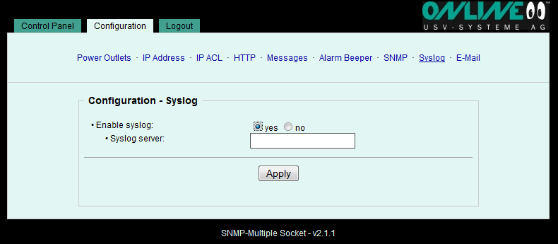 6.2.8 Configuration Syslog Syslog Syslog messages are simple text messages sent to a Syslog server via UDP. Under Linux a Syslog daemon is normally active (e.g. syslog-ng), and there are freeware programs for Windows systems (e.