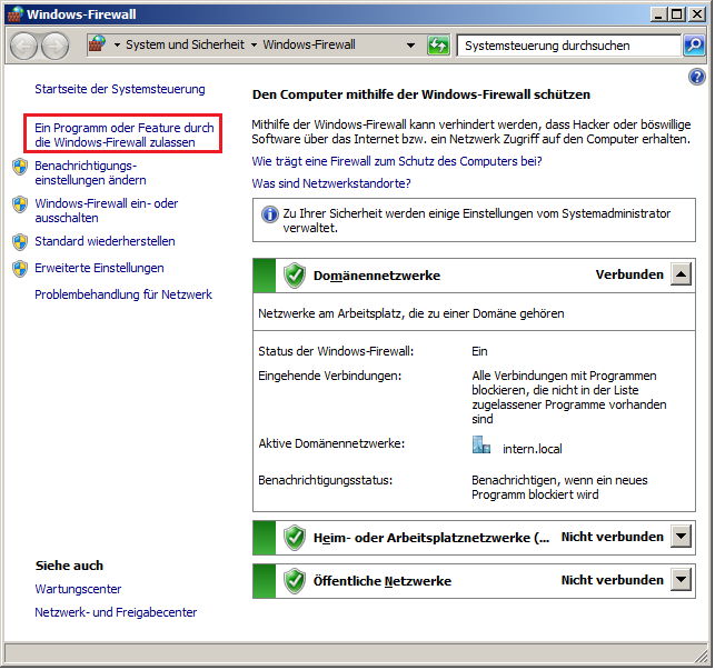 2.3 Windows 7 Windows-Firewall Ausnahmen festlegen Ein Programm oder Feature