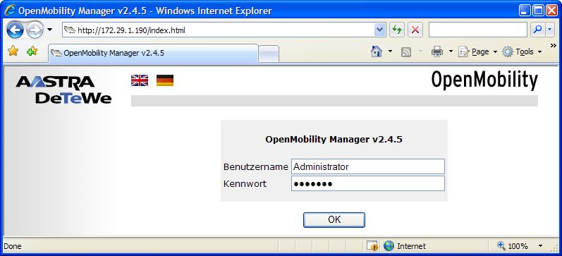 DECT over IP Konfiguration over-ip-managers (OMM, OpenMobility Manager) erreichbar ist.