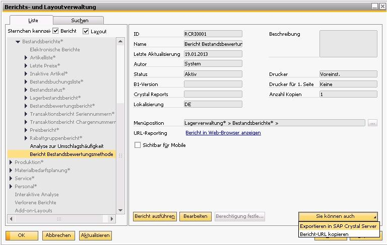 SAP Crystal Reports 2011 & SAP Crystal Reports Server 2011 Integration Erweiterungen: Ansicht von Berichten und Layouts die mit SAP Crystal Reports 2011 entwickelt wurden Bearbeiten von Berichten und