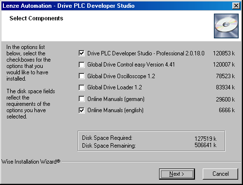 3.1 Component selection The DDS installation program enables you to select the components you want to install on your PC.