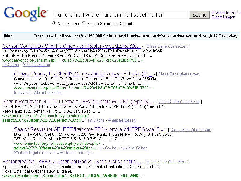 Google SQL-in-URL Web