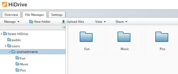 You will see a toolbar with a range of features which you can already select Manage: New folder: Upload files: View: Share: Create e.g. ZIP-Archives or view your Backup Control versions.