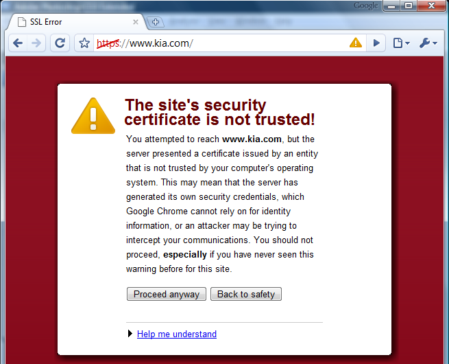Browser Cues: Certificate Errors The web browser can detect certificate errors (e.g.